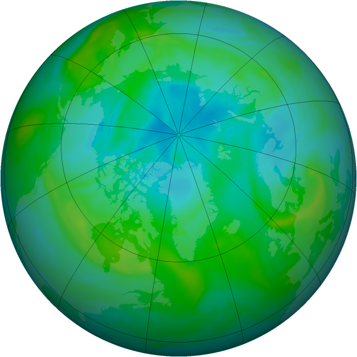 Arctic ozone map for 09 August 2005